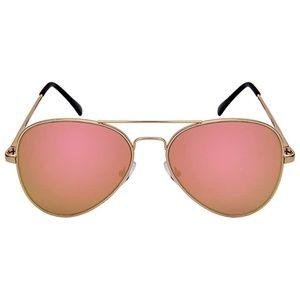 NEW Aviator Sunglasses Pink Lens Gold Frames